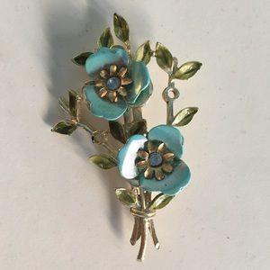 Vintage 1960's Blue And Gold Flower Brooch